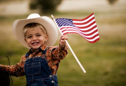 Patriotic Cowboy Kid
